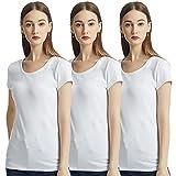 KELOYI Camisetas Mujer Verano Blanco Justada Cuello Redondo Manga Corta Blusas Mujer Basica Ropa Mujer Verano 2021 Pack de 3 M
