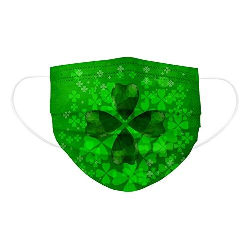 50 Pcs ST Saint Patricks Day Disposable Face Mask for Adults Shamrock Mask for Coronɑvịrus Protectịon Breathable 3ply