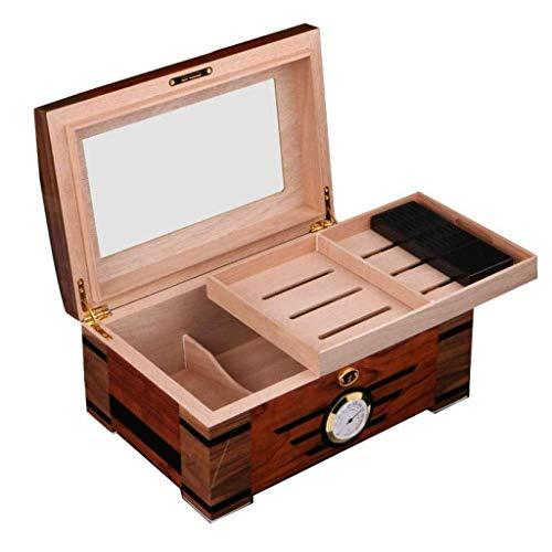 ADSE Glashygrometer und rechteckiger Luftbefeuchter - Desktop Cigar Humidor Glass Top Cigar Aufbewahrungsbox