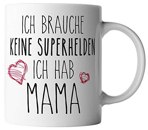 vanVerden Tasse - Ich brauche keine Superhelden - Ich hab Mama - Mutter - beidseitig Bedruckt - Geburtstag Geschenk Idee Muttertag, Tassenfarbe:Weiß