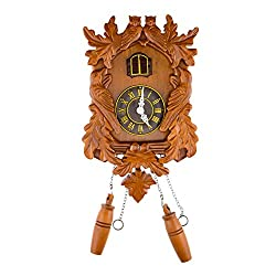CLEVER GARDEN Large Wooden Traditional Cuckoo Clock House with Owls & Pendulum | Home & Kitchen Décor | Wall Clock Decoration | Bird Cuckoos on The Hour | Wood