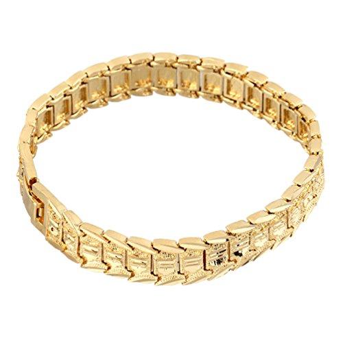 Pulsera chapada en Oro de 18 Quilates para Hombre, Pulsera de eslabones Vintage a la Moda para Hombre (Oro)