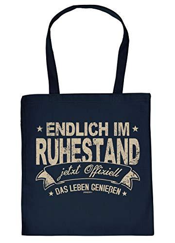 Rentner-Tasche Geschenk-Tasche - Stofftasche Motiv Rente/Ruhestand : Endlich im Ruhestand jetzt Offiziell - Sprüche Baumwolltasche - Farbe: Navyblau