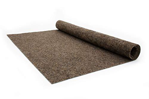 Nadelfilz Teppich-Boden RIPS MALTA B1 als Meterware - Braun, 2,00m x 5,00m, Schwer Entflammbarer, Gerippter Bodenbelag für Messe & Event