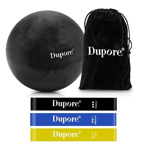 Dupore. Rutschfester & Superleichter Soft Pilates Ball + 3X Fitness Bänder aus hochwertigem Naturlatex - 23 cm + GRATIS Ebook mit 47 Pilates Übungen für EIN effektives Training