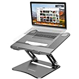 Adjustable Laptop Stand , Laptop Holder, Laptop Riser with Heat-Vent to Elevate, Compatible with MacBook, Air, Pro, Dell XPS, Samsung, Alienware, All laptops 10-17.5 inches, Space Grey