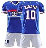 WZXLY 1998 Camiseta de fútbol France 10 Zidane, Camiseta de fútbol para Entrenamiento de Adultos y niños, Transpirable y de Secado rápido, Unisex,