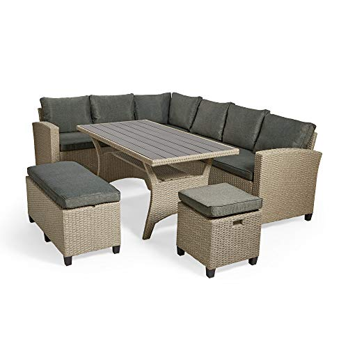 VonHaus 9 Seater Rattan Corner Dining Set – L-Shaped Outdoor Furniture with Grey Cushions – Outdoor Sofa – Garden/Decking/Patio Furnishing for Relaxing and Entertaining
