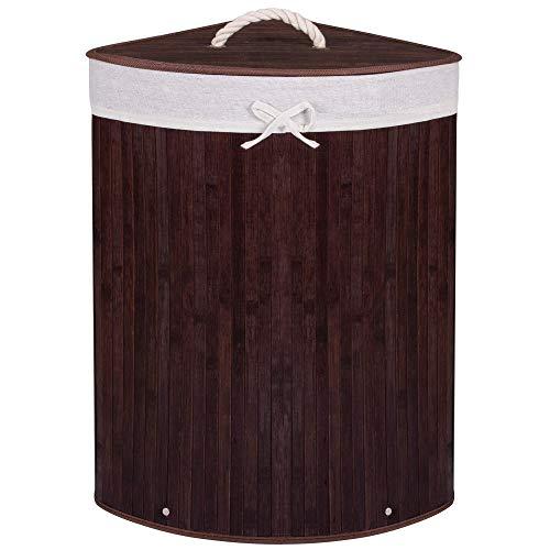 SPRINGOS Eckwäschekorb, Wäschesammler mit Deckel, 73 L, Wäschesammler, Bambus, platzsparend, Badeinrichtung, Schatzkiste für Spielzeug (Dunkelbraun)