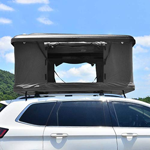 EDECO Hartschalen-Dachzelt für PKW-LKW-Geländewagen, mobiles Reise-Pop-up-Familiendach auf dem Dach, regensichere Zelt-Faltreisebox,Black + Dark Gray Canvas