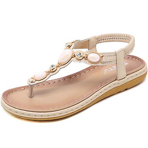 GAXmi Sandali donna eleganti gioiello strass scarpe piatte spiaggia beige 38 EU