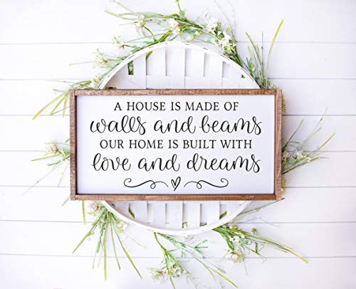Ced454sy A House is Made of Walls and Beams Panneau de décoration en bois de style fermier