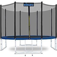 KIDUKU® Trampolin 244 cm | Komplett set med skyddsnät, stege, kantskydd, golvankare & tillbehör | Utomhus trädgård studsmatta barns trampolin motståndskraft 150 kg