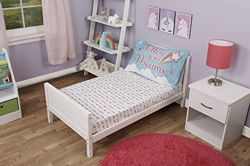 Funhouse Toddler Bed Sheet Set - Includes Fitted Sheet and Pillowcase Set - Unicorn Design for Girls Bed, Pack of 2