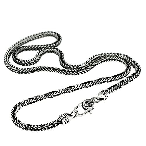 Auténtica plata de ley 925 cuadrada enlace, cadena de 45-70 cm con caja de regalo, joyería de moda para hombres (45 cm, plata)