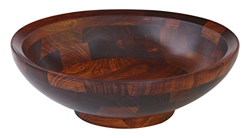 Mountain Woods Cherry Finish Footed Bevelled Rim Wood Serving Bowl for Fruits or Salads