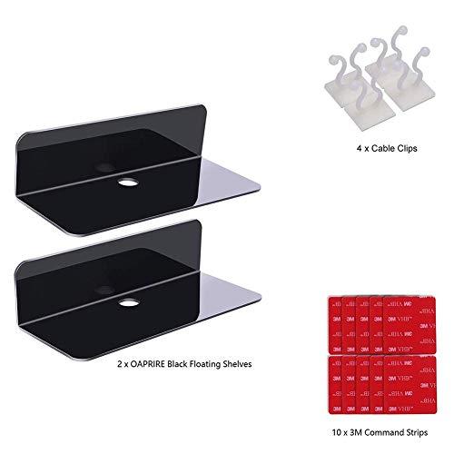 Klein rek voor smart schakelaar/luidspreker/figuren met kabelbinders, uitbreidbaar wandoppervlak zonder beschadigingen, 2 pakketten zwart.