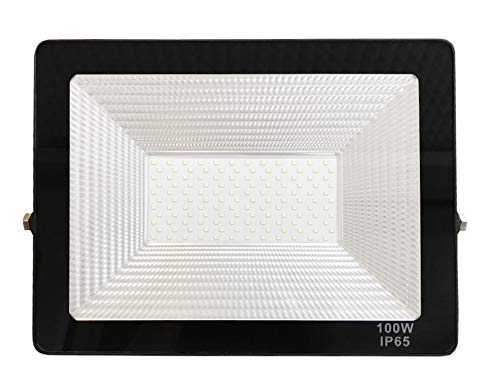 Foco LED exterior Floodlight 100W GNETIC GLASS Proyector Impermeable IP65 10000LM Color Luz Blanco Fría 6500K Angulo 120 Grados 240x325 mm 30000h Equivalente a 900W [Eficiencia energética A] Pack 1