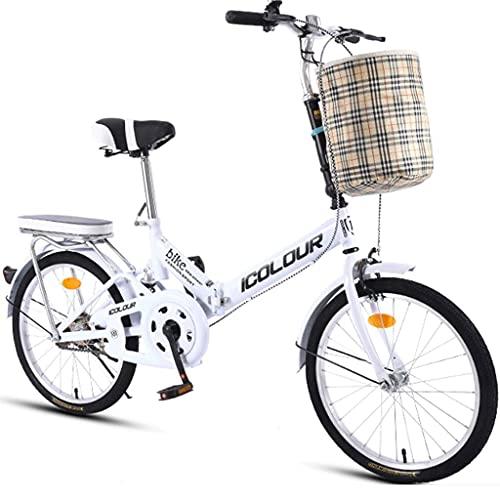 Bicicletas de montaña Bicicleta Plegable de una Velocidad Hombre Mujer Adulto Estudiante Ciudad Viajero Bicicleta Deportiva al Aire Libre con Cesta Bicicleta de Ciudad Ligera Viajero Urbano