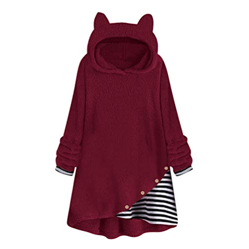 Winter Sweatshirt Fleece Jackets Women Patchwork Hooded Pullovers Warm Long Sleeve Sweat Shirt Jacket Coat Burgundy XXL