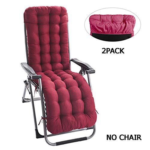 Yuly - Cojín para silla mecedora con funda antideslizante para jardín, tumbona, patio, salón, reclinable, 2 unidades, rosso