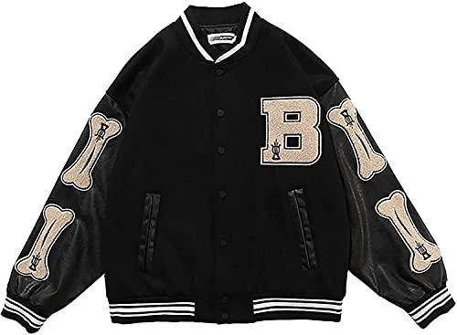 Vagbalena Giubbotti Bomber per Uomo Giacca College Baseball Patchwork Classica Felpa Casual Capispalla (S,Nero)