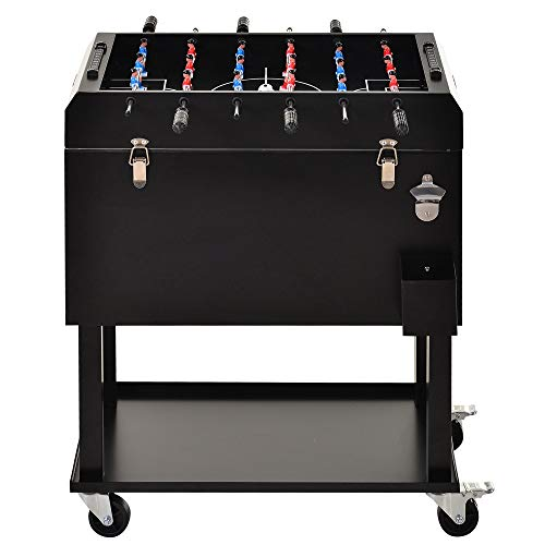 Outsunny 65L Patio Cooler Ice Chest with Foosball Table Top, Portable Poolside Party Bar Cold Drink Rolling Cart on Wheels with Tray Shelf