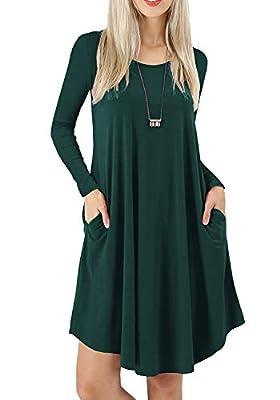 AWULIFFAN Women's Long Sleeves Pockets Loose Swing Casual Dresses