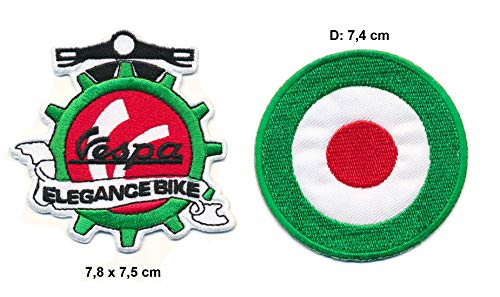 Vespa Elegance Bike Parches Parches Parches Parches 2 Piezas Motocicleta Scooter Scooter Italia