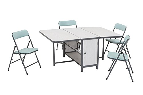 Cosco 5pc Fold-n-Store Set, 4 Chairs, 1 Table, White Woodgrain, Teal Blue Chairs, Charcoal Gray Frame