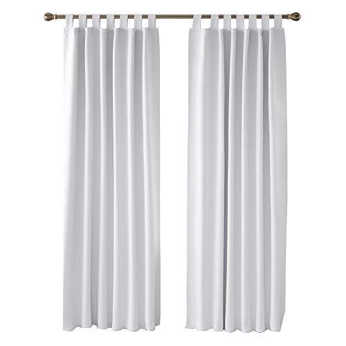 Deconovo Vorhang VerdunkelungThermo Vorhänge Schallschutz mit Schlaufen 220x140 cm Grau Weiß 2er Set