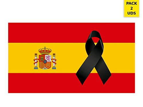 Oedim Pack 2 Banderas de España con Crespón   Medidas 85x150cm   Reforzada y con Pespuntes   Bandera de España con Crespón y 4 Ojales Metálicos   Resistente al Agua