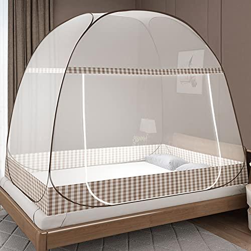 Moskitonetz Bett Pop Up, Faltbares Bett-Moskitonetz, Tragbares Reise-moskitonetz, Moskito-Campingzelt für Schlafzimmer Outdoor Camping, Einfache Installation, Feinmaschig(200x150x150 cm, Braun)