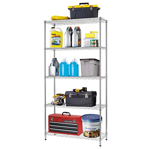 FDW Large Storage Shelves Adjustable Metal Shelves Heavy Duty Height Commercial Grade Steel Layer Shelves 1250 LBS Capacity,36' L x 14' W x 72' H,Chrome