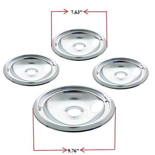 """Kitchen Basics 101 119204XZ Style B Chrome 4 Pack Drip Bowls 3 Small 6"""" and 1 Large 8"""" Replacement for GE"""