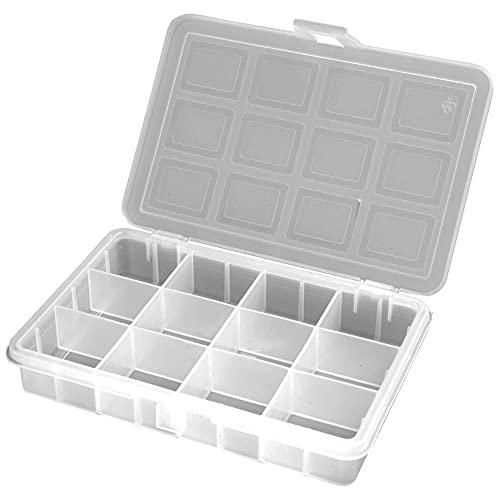 ART PLAST 3200T Organizer in plastica Trasparente con 12 Scomparti L180xP128xH32 mm, Bianco, 18 x 12,8 x3,2 cm