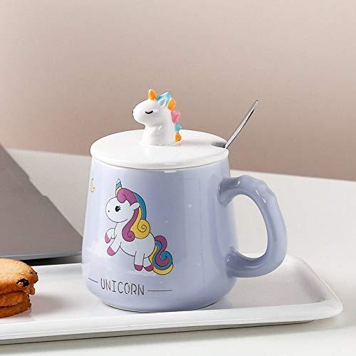 Heliansheng Linda Caricatura Tridimensional Unicornio Taza de Agua Taza de cerámica Estudiante Pareja Oficina café-púrpura-301-400ml