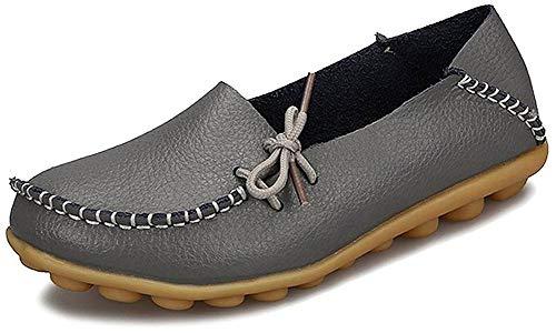 Eagsouni Damen Mokassins Bootsschuhe Leder Loafers Freizeit Schuhe Flache Fahren Halbschuhe Casual Slippers, Grau A, 43 EU