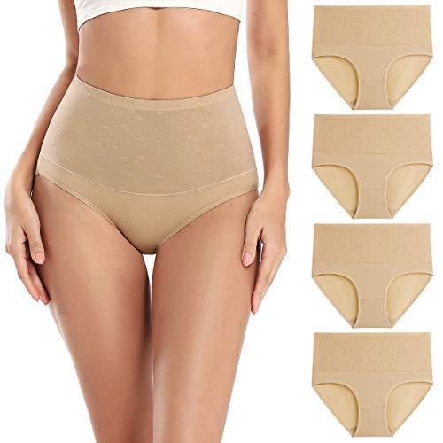 wirarpa Bauchweg Unterwäsche Damen Miederslip mit Bauch Weg Unterhosen Baumwolle Miederhose Formend Slip 4er Pack Beige Größe M