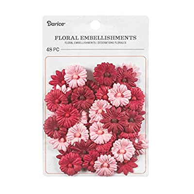 Darice Button Daisy Floral Embellishment: Red/Pink, 0.75 in, 48 Pack, Assorted