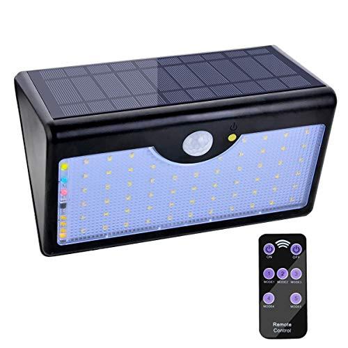 Lámpara Solar 60 LED Luz Solar 1300 LM Focos Solares con Control Remoto y Sensor Movimiento de Seguridad Luces Solares al Aire Libre 5 Modos Luz de Seguridad Impermeable para Jardín Patio