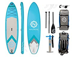 "EXTREMELY STABLE, RIGID Nautical by iROCKER INFLATABLE PADDLE BOARD: 10'6"" Long x 32"" Wide x 6"" Thick- Board Weight 20 lbs.- Weight Limit of up to 240 lbs. The 32"" width makes for extra stability while the sporty shape of the board still allows for a..."