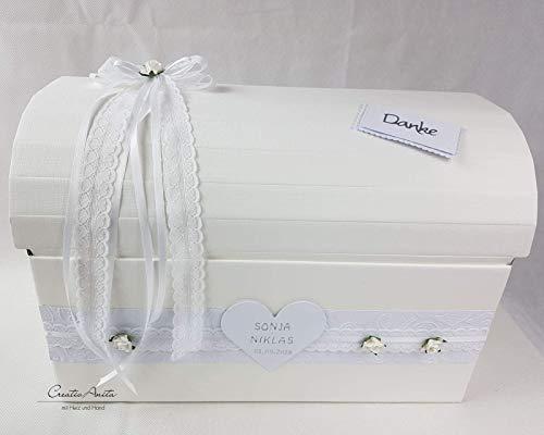 Briefbox - Geschenktruhe - Edle Spitze mit Röschen Hochzeit Geschenkschachtel Erinnerungsbox