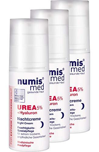 numis med Nachtcreme mit 5{34c7430b4806779059a7f4d2d9ef1cec6a6050fdeb02df5d5f8bc1d231a050f5} Urea & Hyaluronsäure - Gesichtspflege frei von allergenen Duftstoffen - Gesichtscreme für sensible, zu Neurodermitis neigende Haut - Gesicht Creme im 3er Pack (3x 50 ml)