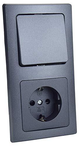 Steckdose mit Lichtschalter Unterputz Doppelrahmen 230V 2-Fach Kombination Schutzkontakt-Steckdose mit Wechsel-Schalter Rahmen Komfort Klemm Anschluss Anthrazit