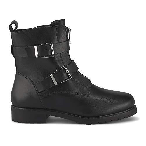 Cox Damen Biker-Boots, Kurzschaft-Stiefel aus Glatt-Leder, Stiefelette mit silberfarbenen Schnallen und modisch platziertem Reißverschluss, in Schwarz Schwarz Glattleder 39