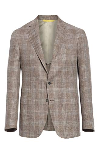 Canali Men's Kei Trim Fit Plaid Linen & Wool Sport Coat, Size 48 US / 58 EU R - Beige