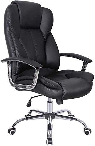 Silla de oficina con espalda alta, silla de escritorio de computadora grande de cuero sintético, diseño de asiento ajustable de diseño ergonómico, mecanismo de inclinación de sincronización, giro gira