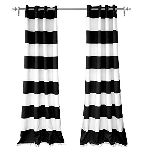 DriftAway Mia Woven Stripe 100 Percent Blackout Thermal Insulated Window Curtain Grommet 2 Panels Each 50 Inch by 84 Inch Black