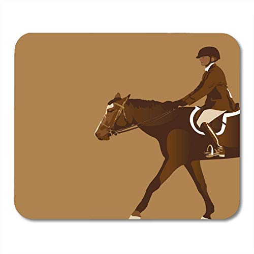 AOHOT Mauspads Brown Derby Equestrian Rider Horse Jumper Reins Saddle Animal Boots Mouse pad 9.5